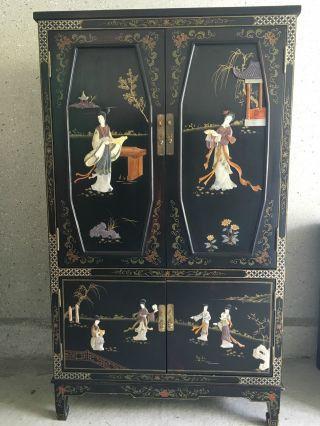 Wunderschöner,  Alter Chinesischer Schrank Aus Holz Mit Einlegearbeiten Ca.  138cm Bild