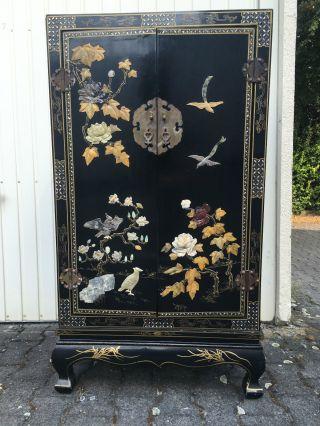 Wunderschöner,  Alter Chinesischer Schrank Aus Holz Mit Einlegearbeiten Ca.  123cm Bild
