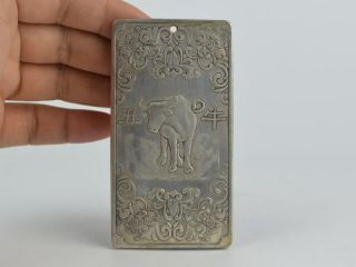 Collectible Decorated Old Tibet Silver Handwork Carved 12 Zodiac&cow Pendant Bild