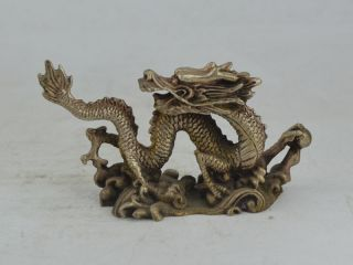 Collectible Old Lebendig Tibet Silver Carving Dragon Figuren Statue Bild