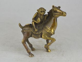 Collectible Exquisite Old Copper Handwork Carving Horse Monkey Statue 马上封侯 Bild