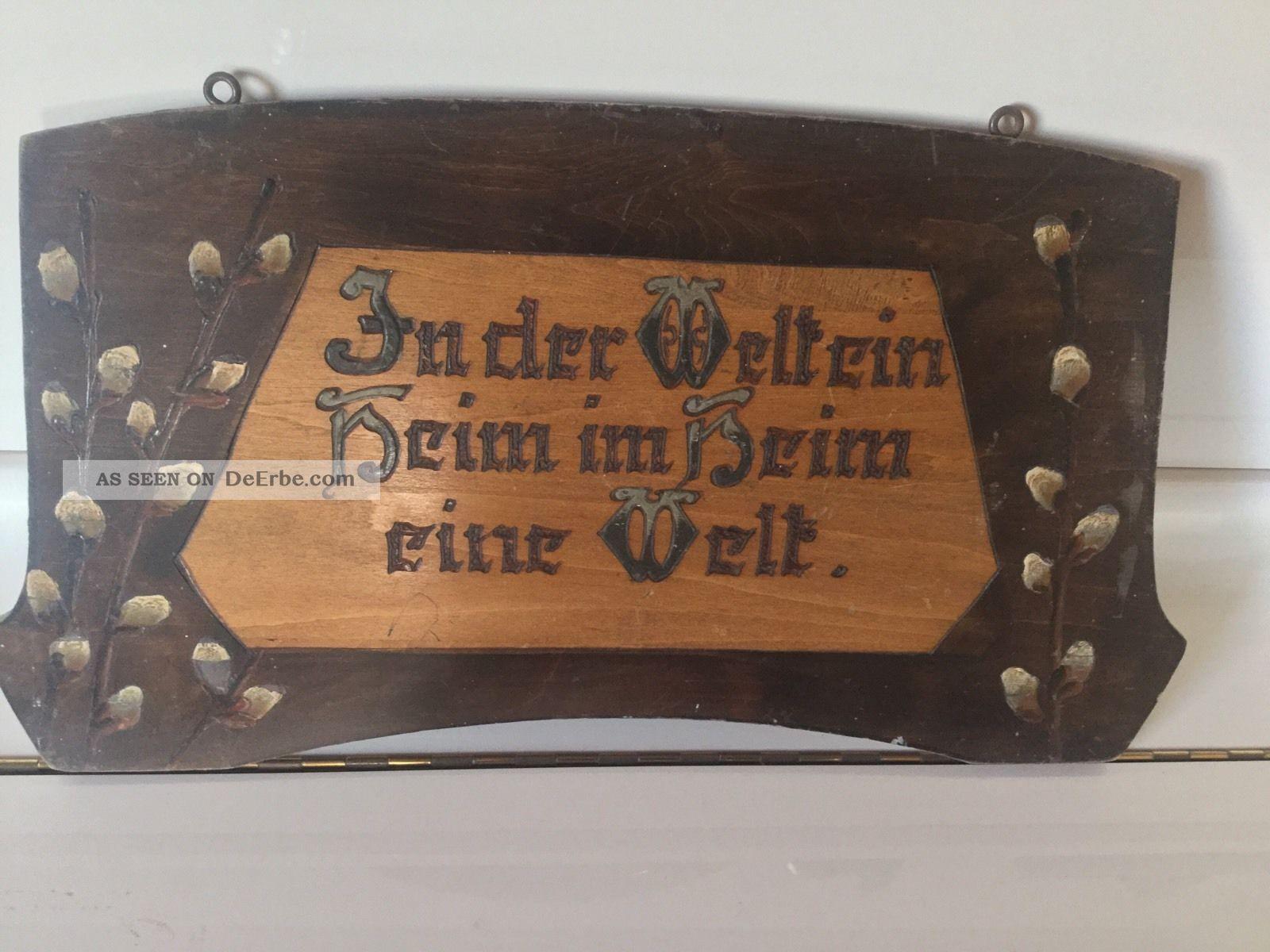 Holz Segens - Spruchbild: Von Uns Die Arbeit,  Von Gott Der Segen,  Sehr Gut Erhalten Holzarbeiten Bild