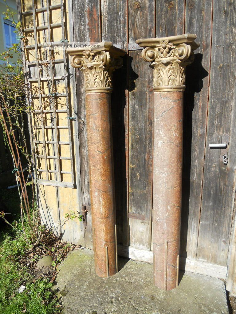 2 Alte Große Säulen Mit Kapitelen,  Holz,  Marmoriert,  Geschnitzt,  160 Cm Hoch Holzarbeiten Bild