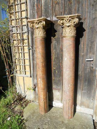 2 Alte Große Säulen Mit Kapitelen,  Holz,  Marmoriert,  Geschnitzt,  160 Cm Hoch Bild