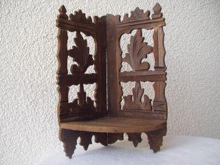 Antike Originale Eck - Konsole/regal Aus Holz Geschnitzt U.  Unbeschädigt - 19.  Jhd Bild