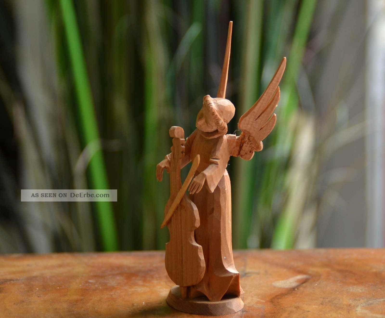 Vintage Handgeschnitzter Engel Mit Cello Oberammergau Holz Figur Krippenfigur Holzarbeiten Bild