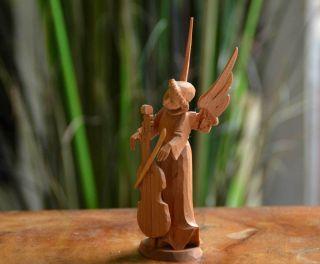 Vintage Handgeschnitzter Engel Mit Cello Oberammergau Holz Figur Krippenfigur Bild