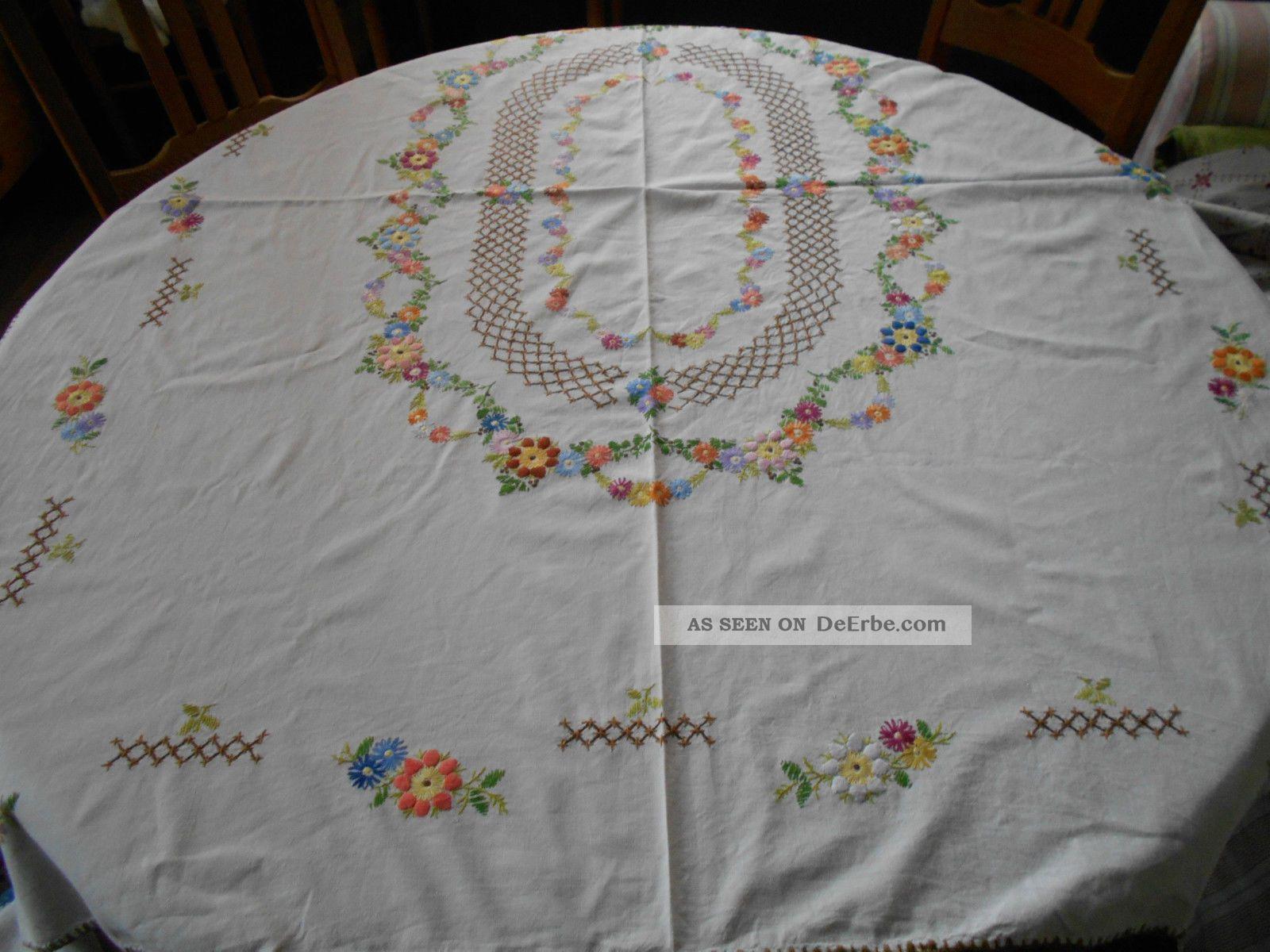 Alte Bestickte Tischdecke Blumen Sehr Aufwändige Handarbeit Tischdecken Bild