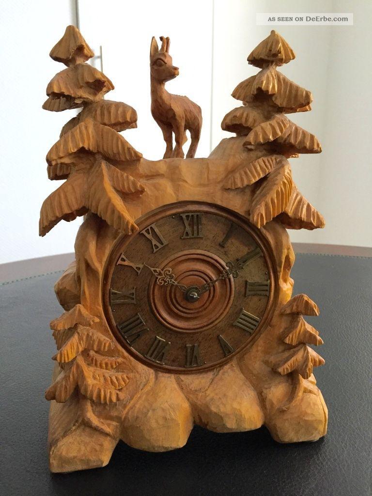Holz Uhr Mechanisch / Gangreserve 5 Tagen / Handgeschitzt Um 1960 - 1970 Holzarbeiten Bild