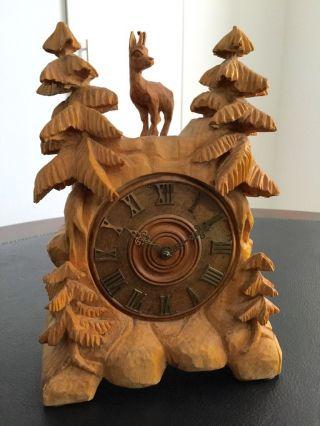 Holz Uhr Mechanisch / Gangreserve 5 Tagen / Handgeschitzt Um 1960 - 1970 Bild