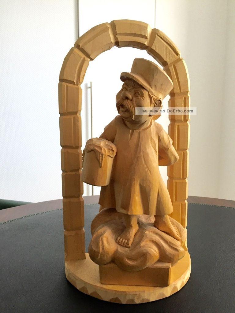 Alois Ohmayer / Ein MÜnchner Im Himmel Holz Figure,  Handgeschitzt Um 1960 - 1970 Holzarbeiten Bild