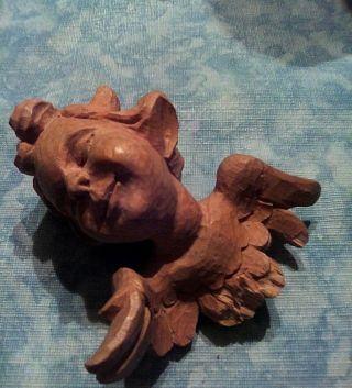 Religiöse Holzschnitzerei Bayern Handarbeit Engel Putte Putto Volkskunst Vintage Bild
