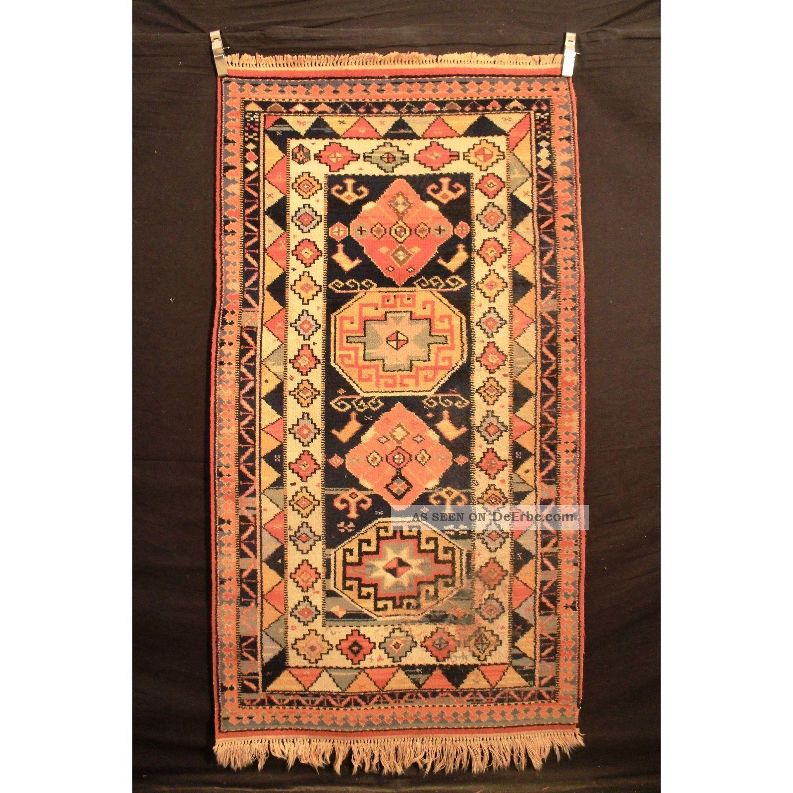 Alter Gewebter Orient Teppich Kazak Heriz Carpet Old Rug Tappeto Tapis 200x110cm Teppiche & Flachgewebe Bild