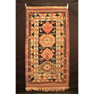 Alter Gewebter Orient Teppich Kazak Heriz Carpet Old Rug Tappeto Tapis 200x110cm Bild