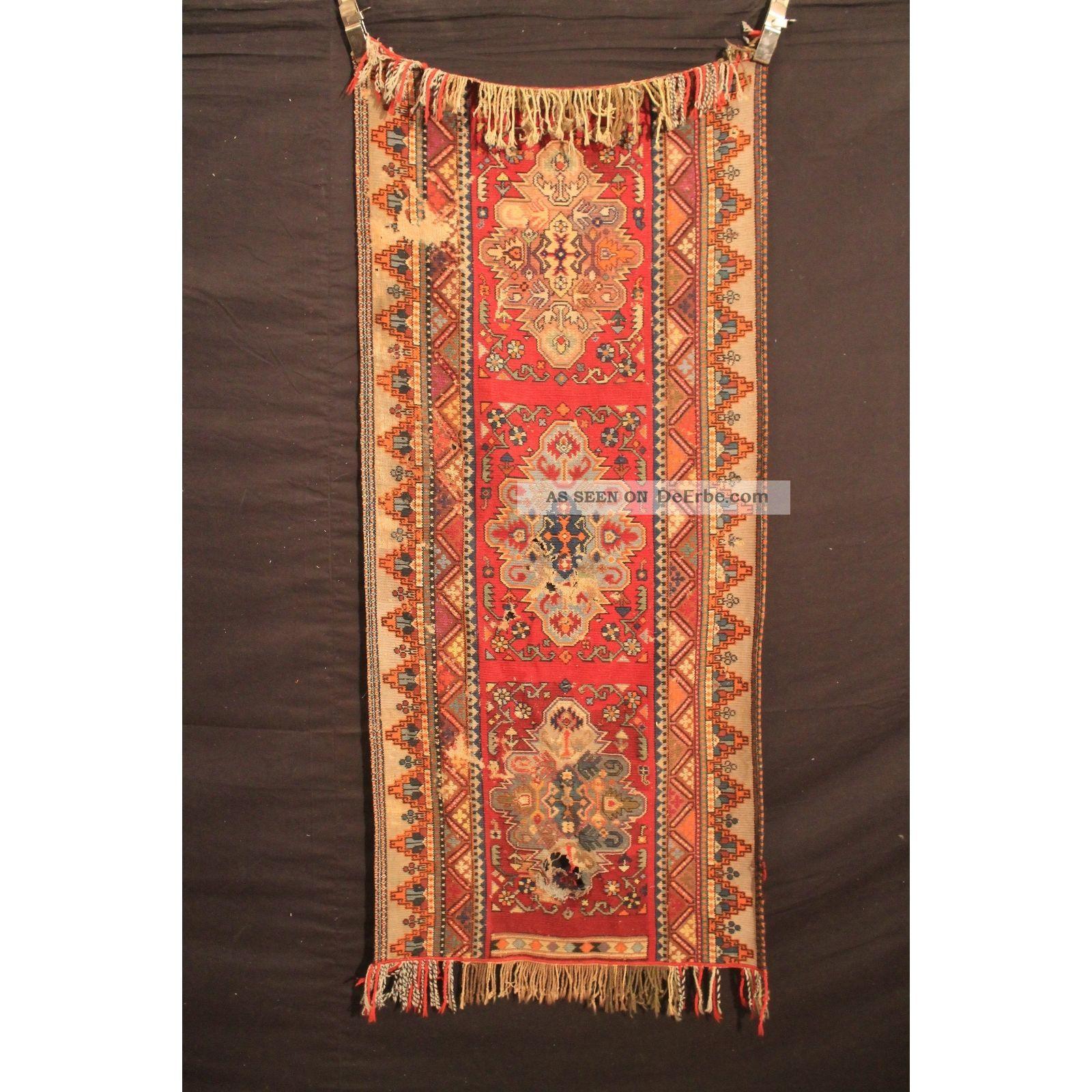 Alt Gewebter Orient Teppich Kilim Kelim Kazak Carpet Tapis Rug 165x65cm Vintage Teppiche & Flachgewebe Bild