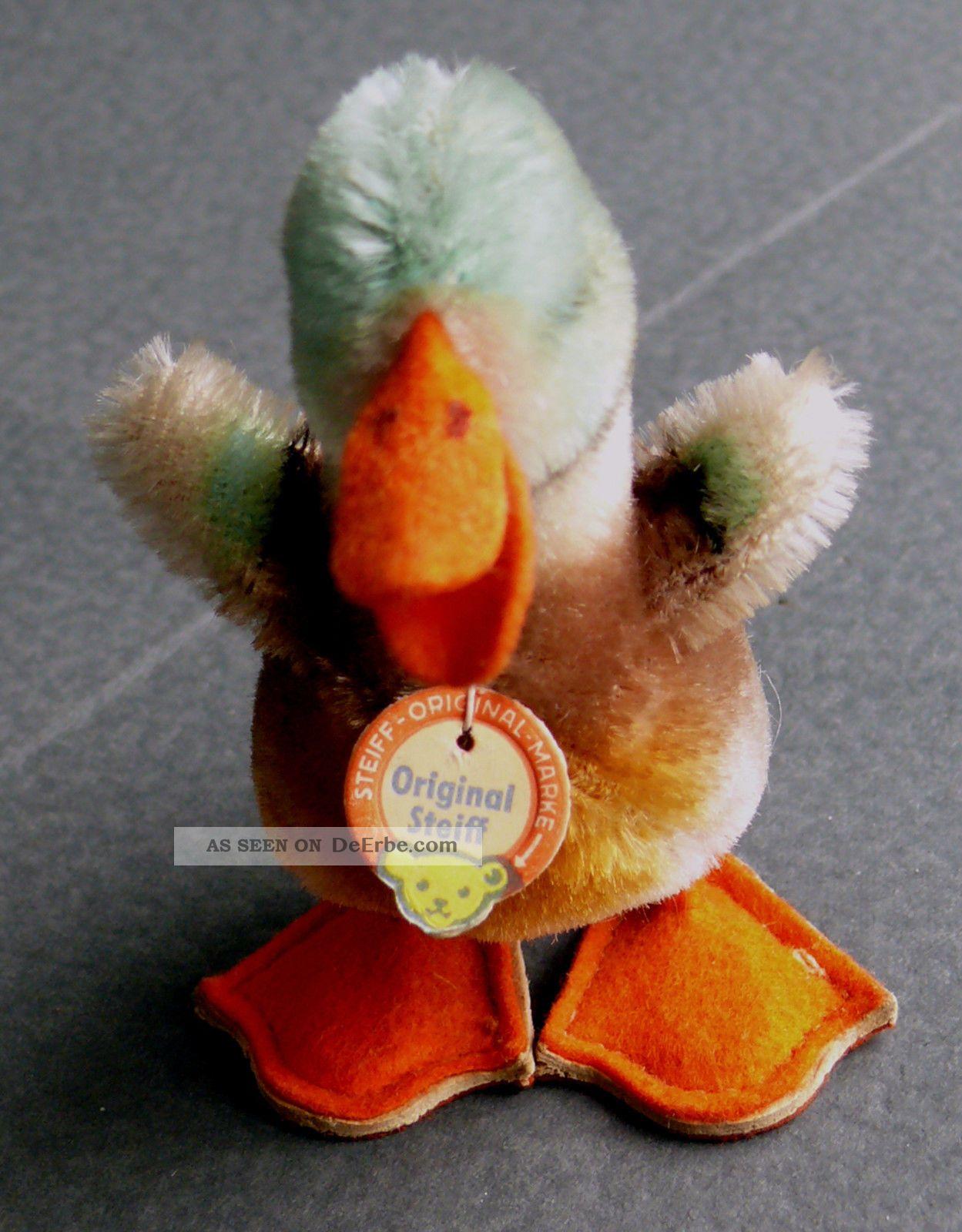 Kleine Ente Von Steiff Ca.  1964 Mit Schild Und Knopf Im Flügel,  Unbesp. Steiff Bild