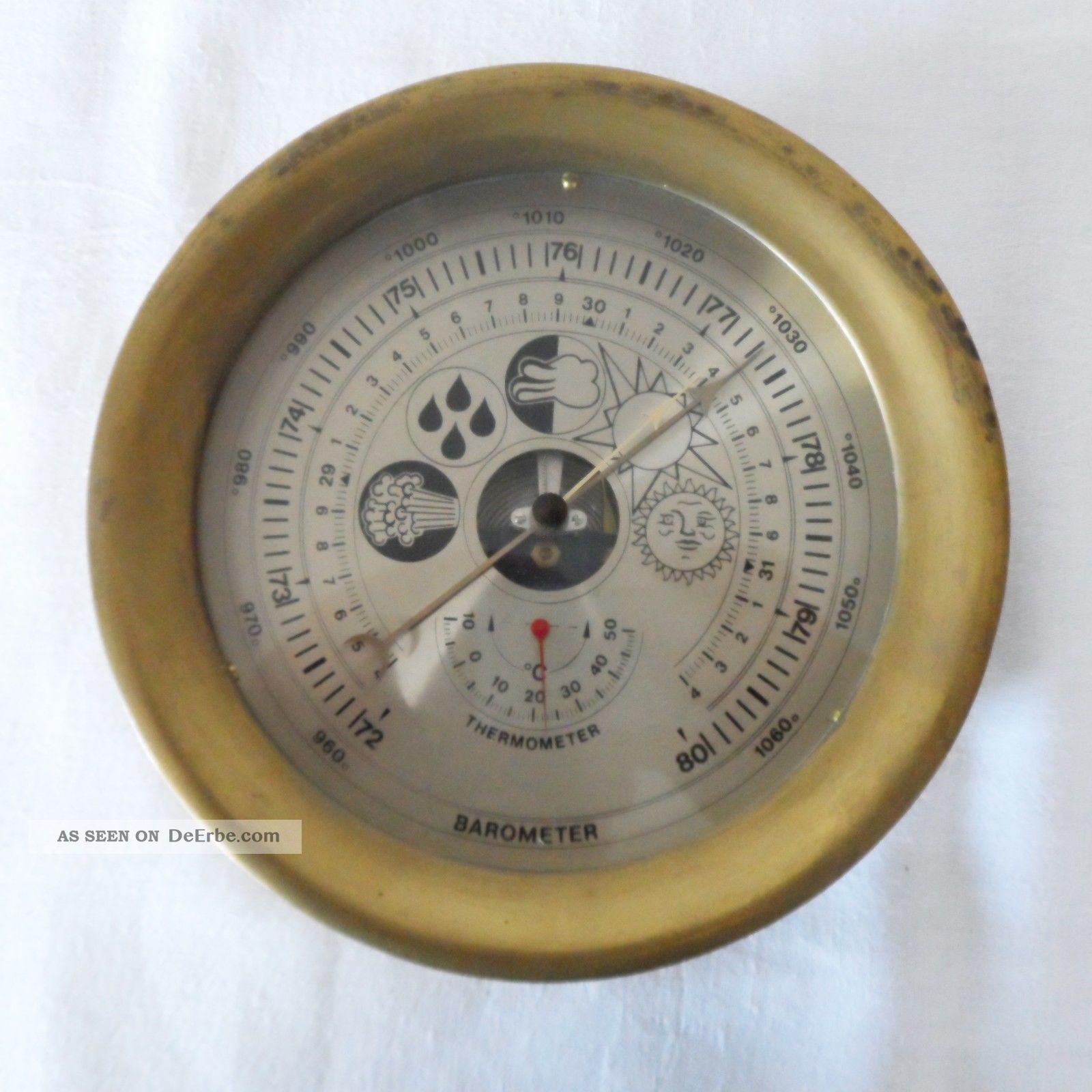 Schiffs - Wetterstation,  Barometer,  Thermometer,  Im Messinggehäuse, Wettergeräte Bild