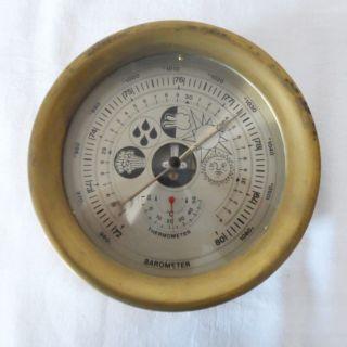 Schiffs - Wetterstation,  Barometer,  Thermometer,  Im Messinggehäuse, Bild