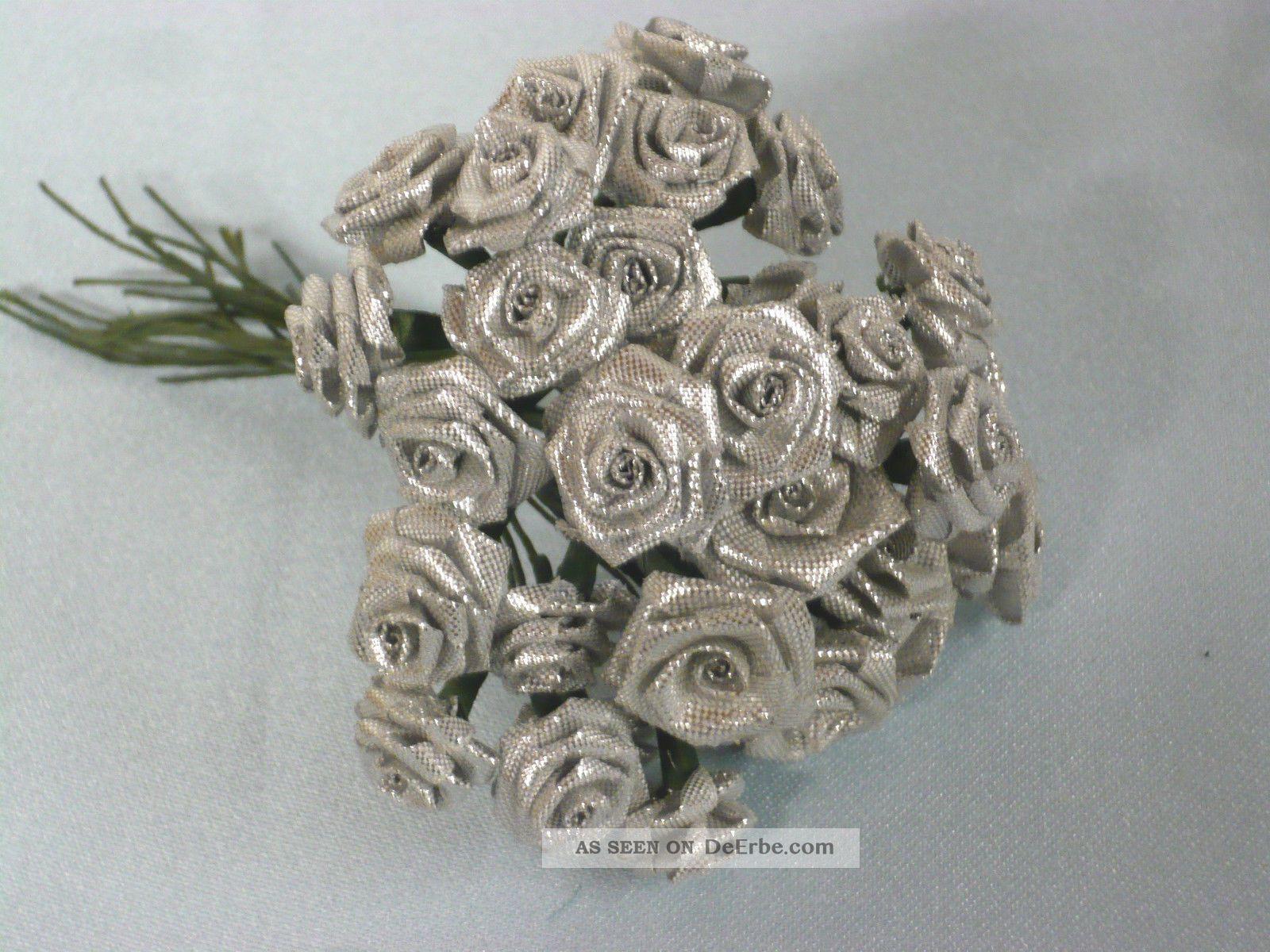 30 alte diorr schen silber seidenblumen deko f puppenh te silberhochzeit shabby. Black Bedroom Furniture Sets. Home Design Ideas