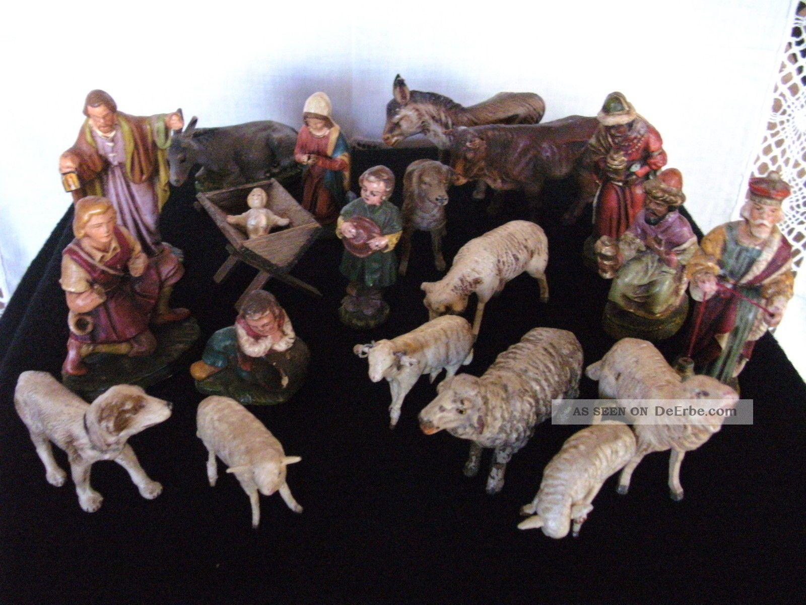 Massefiguren Krippefiguren 20 Figuren Weihnachten Krippe Elastolin & Lineol Bild