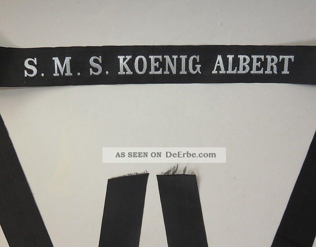 Selt.  Mützenband S.  M.  S.  Koenig Albert (großlinienschiff I.  Wk) Silberf.  L.  144 Cm Nautika & Maritimes Bild