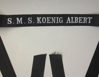 Selt.  Mützenband S.  M.  S.  Koenig Albert (großlinienschiff I.  Wk) Silberf.  L.  144 Cm Bild