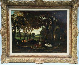 Sonnenbeschienene Waldlichtung Mit Ruhenden Kühen,  Louis Coignard Um 1850 Bild