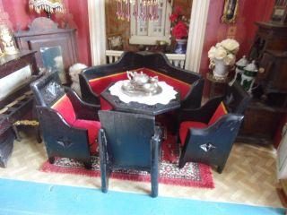 Antike Sitzgarnitur Für Die Alte Puppenstube Art Deco Französisch Bild
