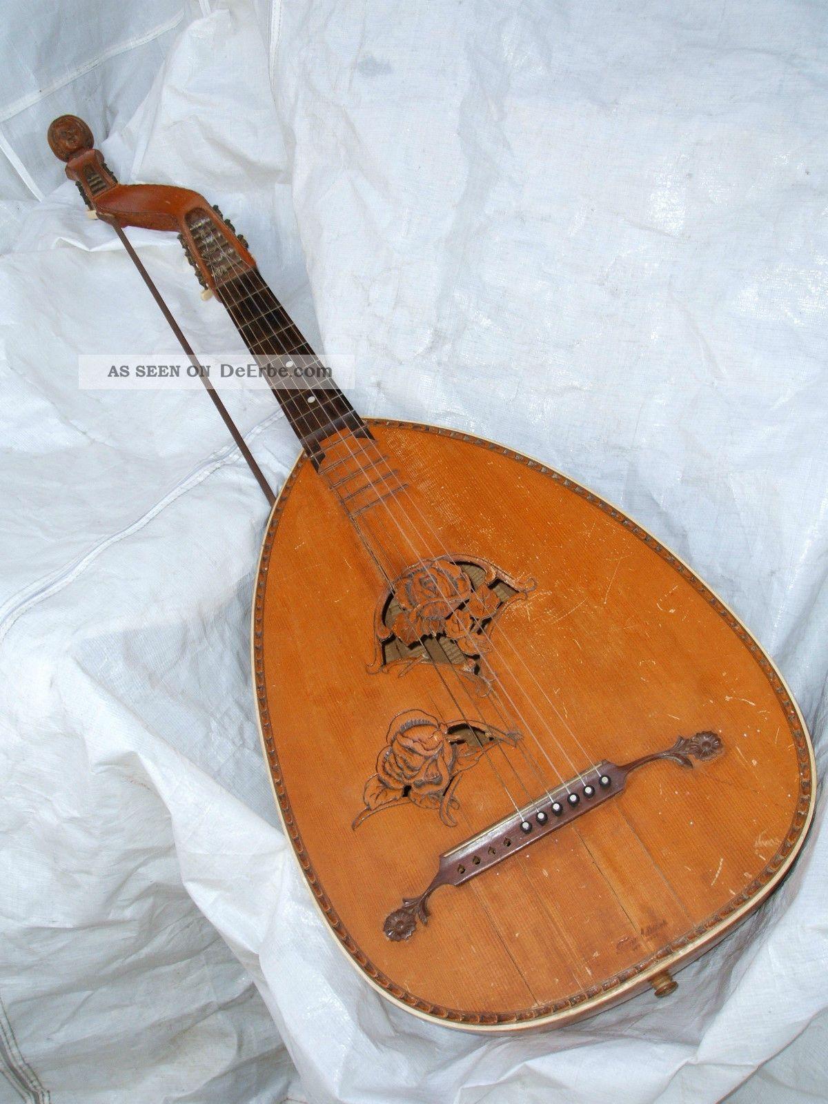 Antique German Lute Bass Gitarrenlaute Lauto Guitarra Antigua Luth Theorbe Basso Musikinstrumente Bild