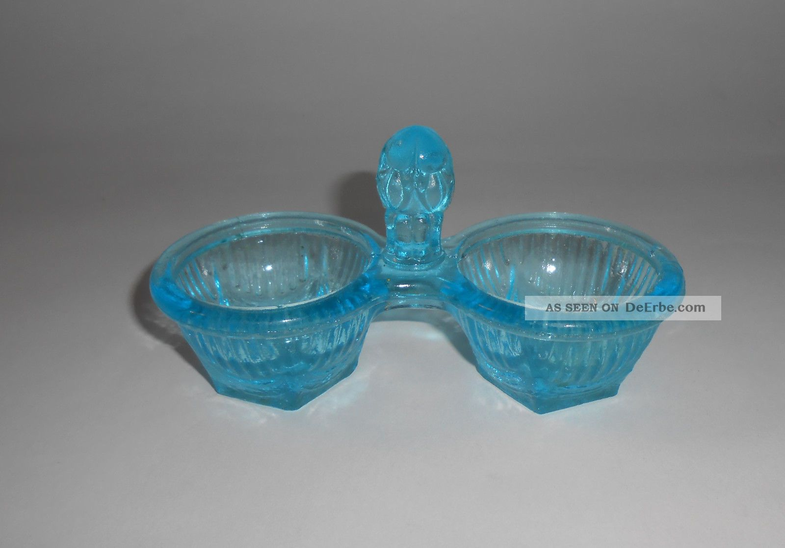 Antike Blaue Salz Pfeffer Menage Aus Pressglas Ca.  1920 Sammlerglas Bild