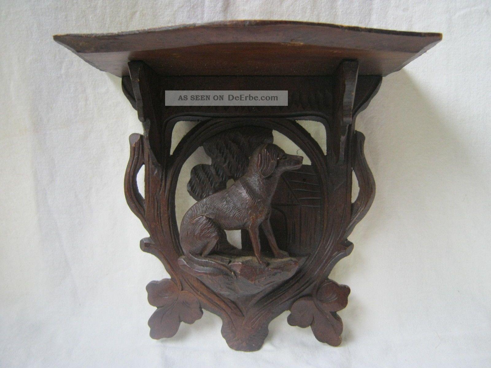 Konsole Aus Eiche Geschnitzt,  Mit Hundefigur Alter Um 1900 Holzarbeiten Bild