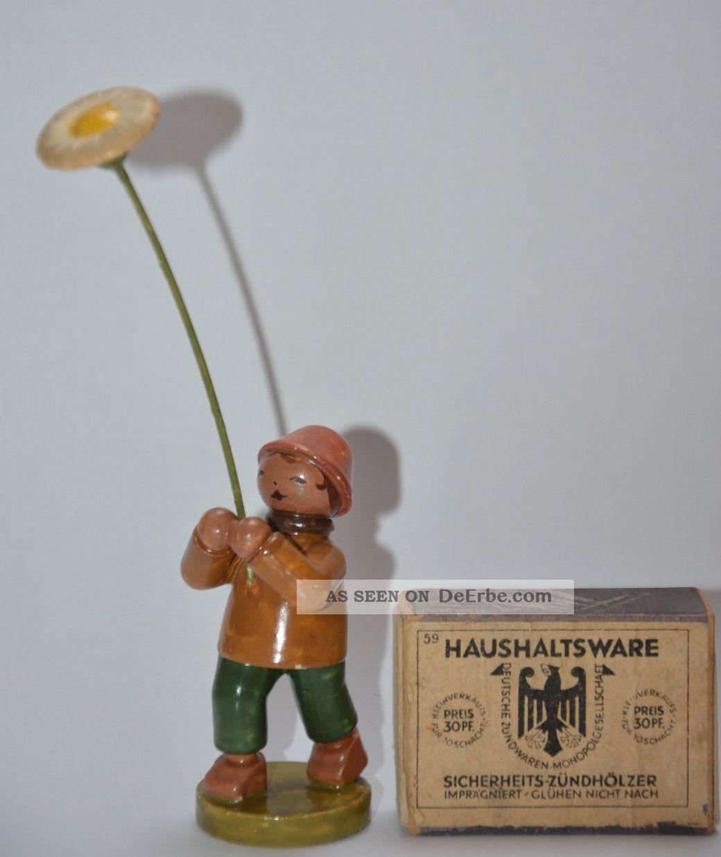 Wendt Und Kühn Blumenkind Vorkrieg Antik Blume Junge Erzgebirge Miniatur Figur Antike Originale vor 1945 Bild