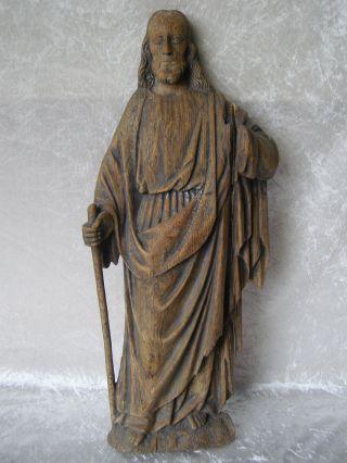 Antique Skulptur Figur Relief Jesus Christus Holz Geschnitzt 19.  Jhdt Bild