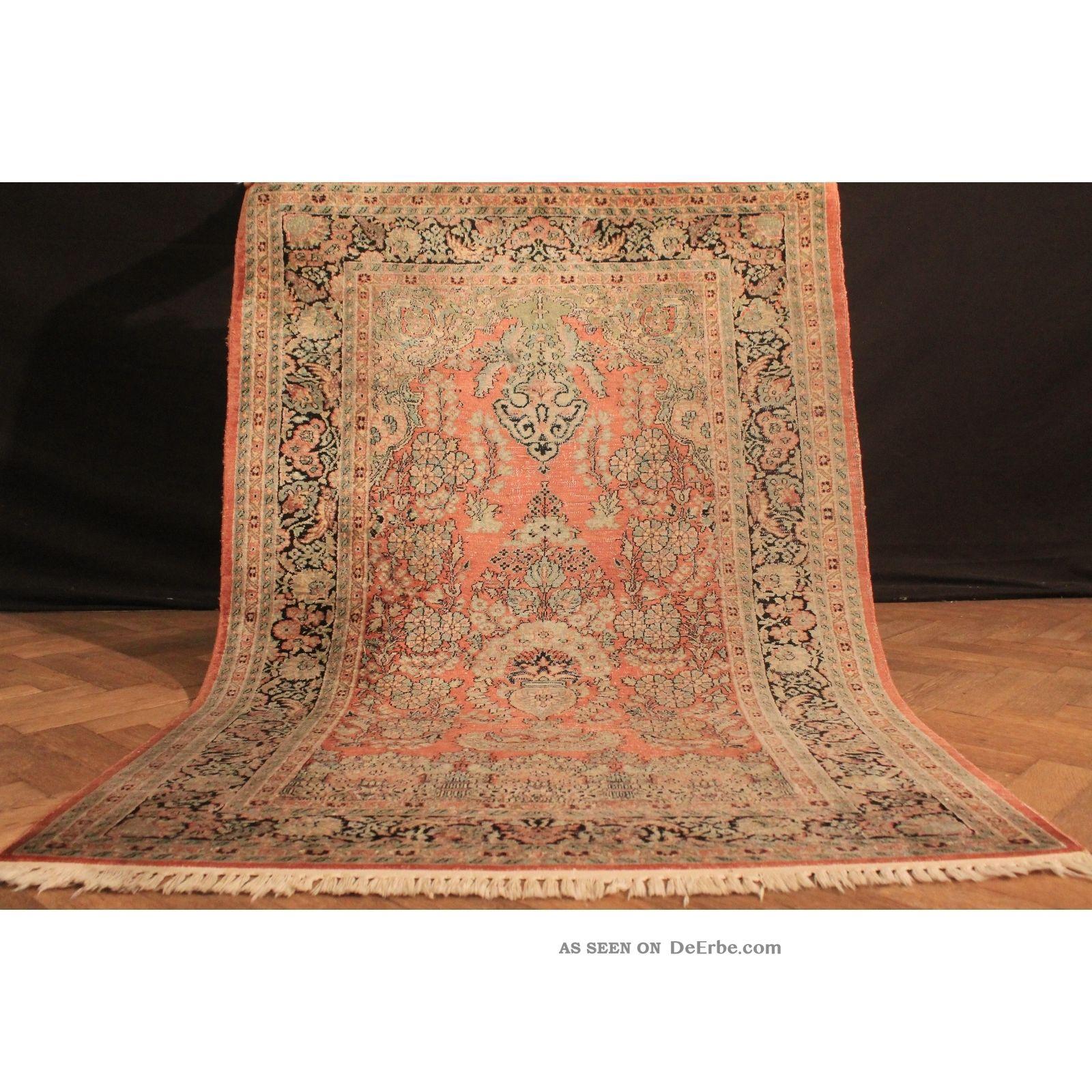 Wertvoll Handgeknüpft Kashmir Perser Seiden Teppich Lebensbaum Carpet 180x125 Teppiche & Flachgewebe Bild