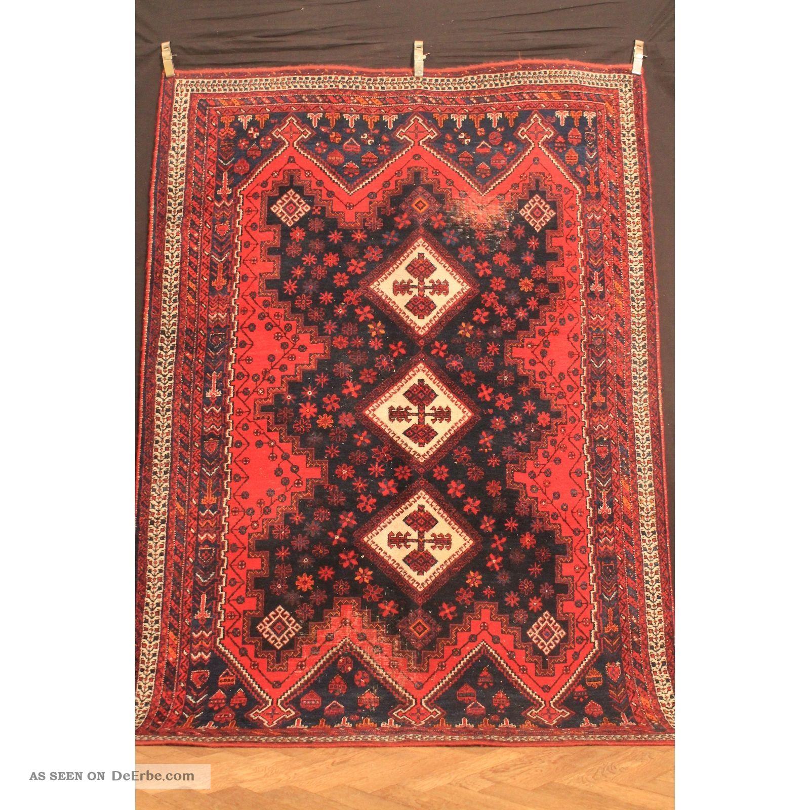 Antik Handgeknüpfter Orient Sammler Teppich Kazak Shi Raz Kasak Carpet 242x172cm Teppiche & Flachgewebe Bild