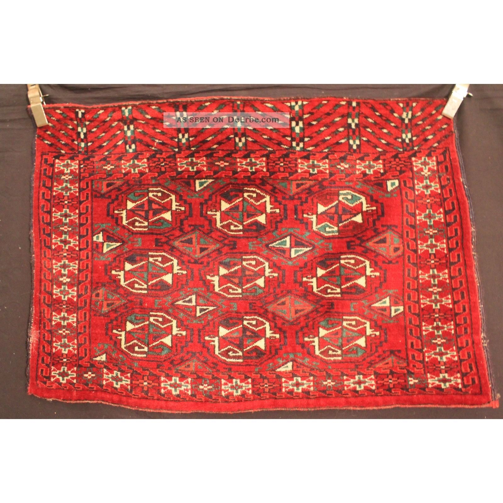 Antik Handgeknüpft Orient Teppich Udssr Turkman Jomut Old Rug Carpet 113x75cm Teppiche & Flachgewebe Bild