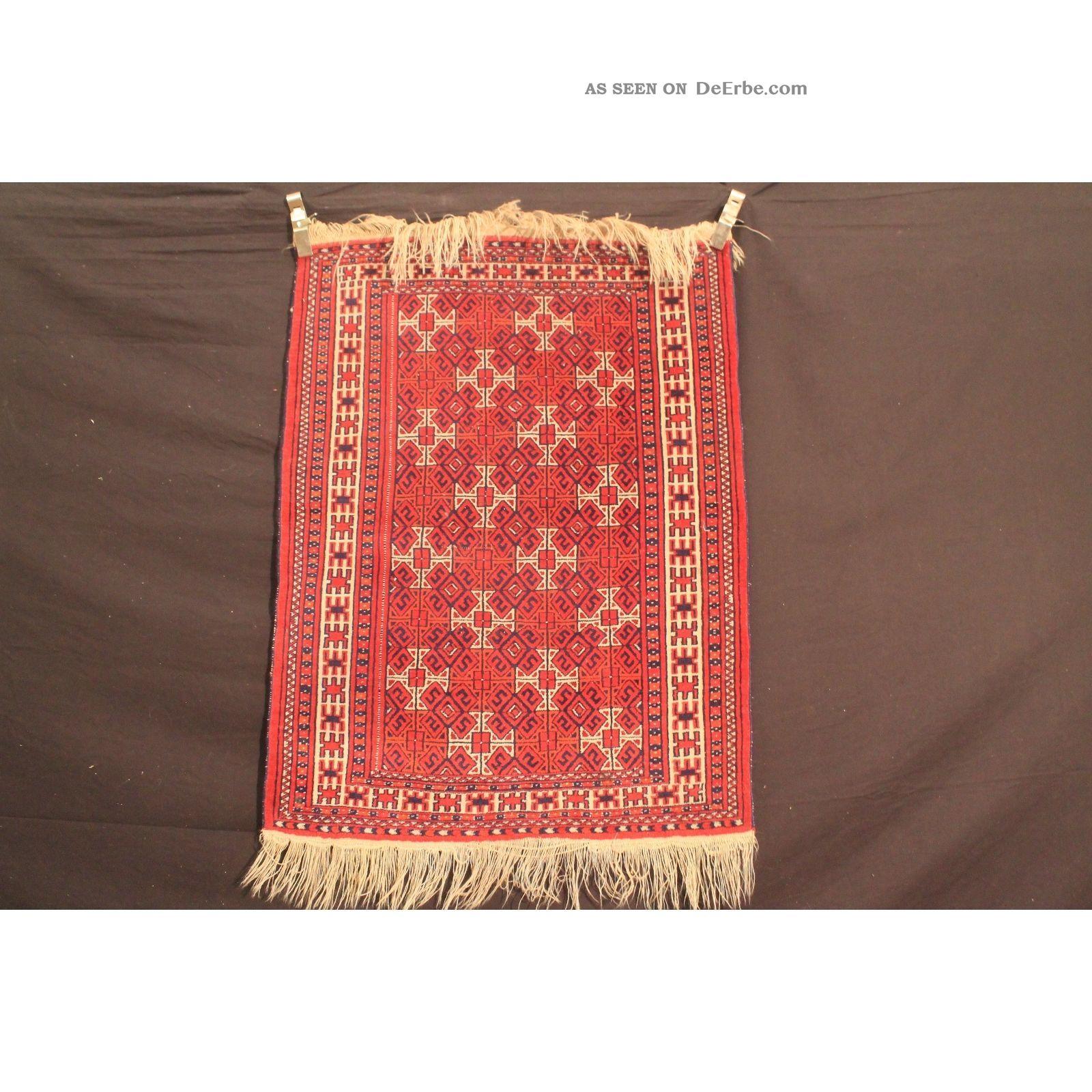 Antik Handgeknüpft Orient Teppich Udssr Turkman Jomut Old Rug Carpet 95x125cm Teppiche & Flachgewebe Bild
