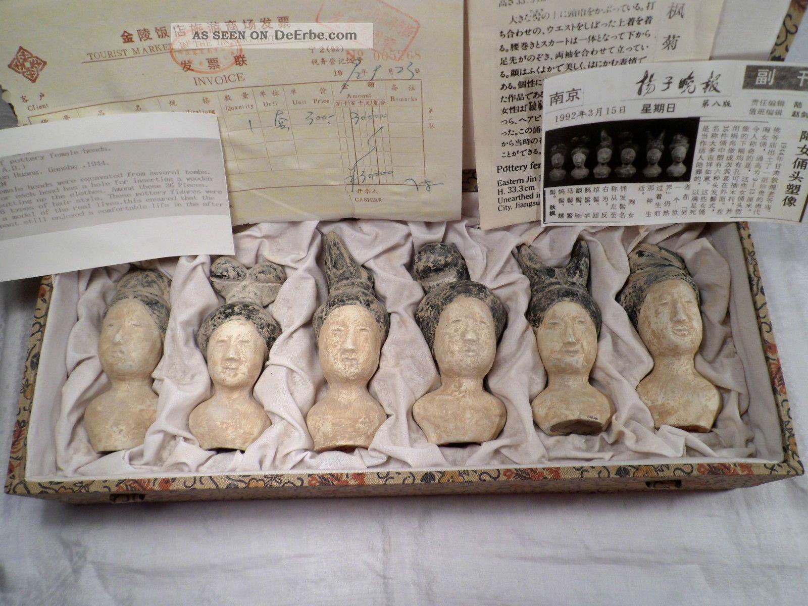 Nachbildung 6 Skulpturen Köpfe Frauen Keramik Tang Dynastie 618 - 907 A.  D.  9 - 13cm Entstehungszeit nach 1945 Bild