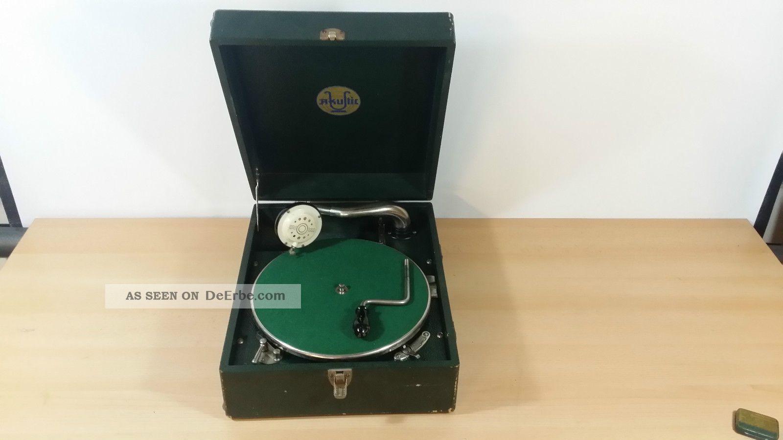 Koffer Grammofon Akustic Mechanische Musik Bild