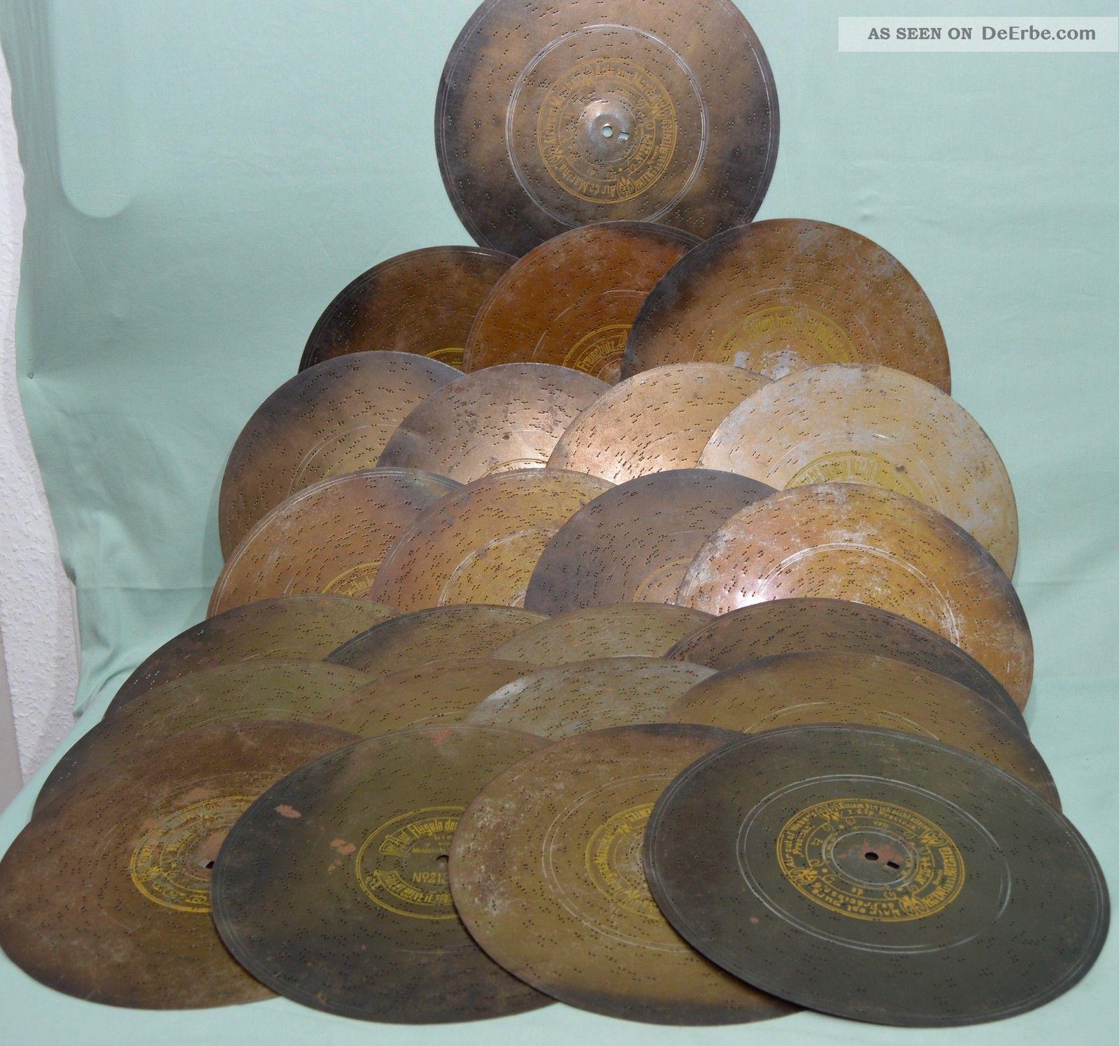 24 Blech Platten Durchm.  27cm Für Symphonion Polyphon Spieluhr Spiedose Um 1900 Mechanische Musik Bild