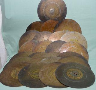 24 Blech Platten Durchm.  27cm Für Symphonion Polyphon Spieluhr Spiedose Um 1900 Bild
