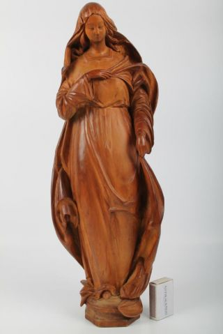 Gr Holz Figur Madonna Signiert O.  Lux