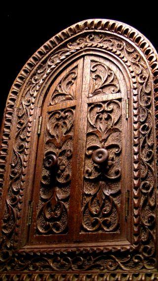 Schönes Altes Fenster,  Neogotisch,  Klappbare Flügel,  Holz Schnitzerei,  Hausaltar Bild