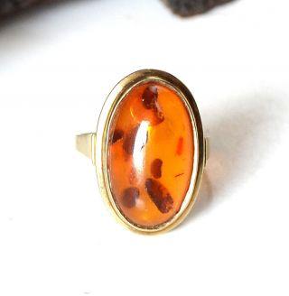 333 Gold Ring Mit Honig Bernstein Oval Amber - Goldring Bild