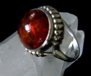 Schöner Antiker Ring,  Silber,  Punze 925,  Mit Funkelndem Bernstein Bild