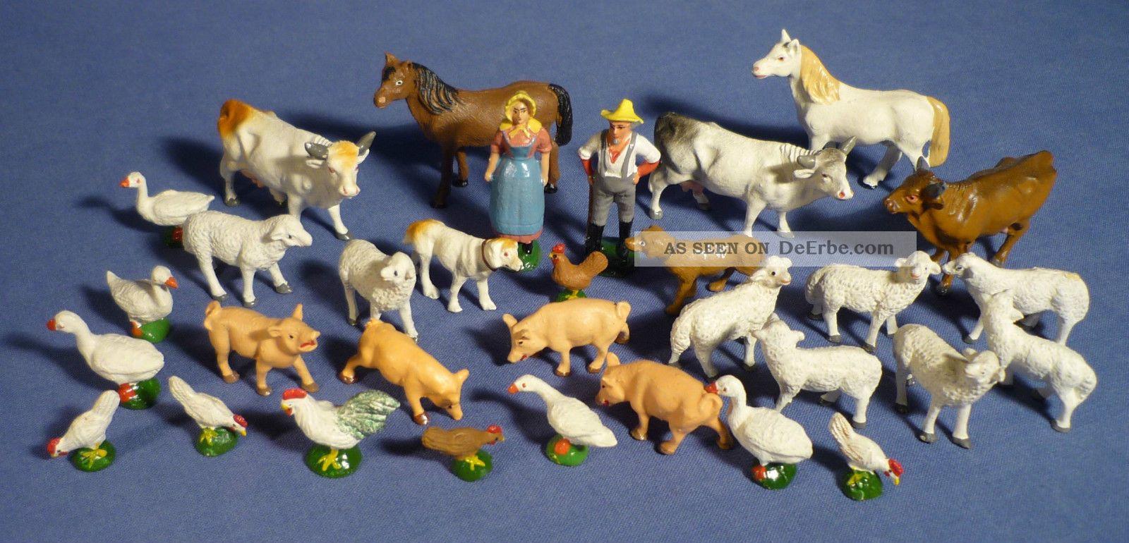 Hausser Elastolin Bauernhof Masse Figur Tiere Bauer Schaf Kuh Pferd Schwein G163 Gefertigt nach 1945 Bild