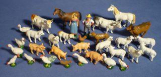 Hausser Elastolin Bauernhof Masse Figur Tiere Bauer Schaf Kuh Pferd Schwein G163 Bild