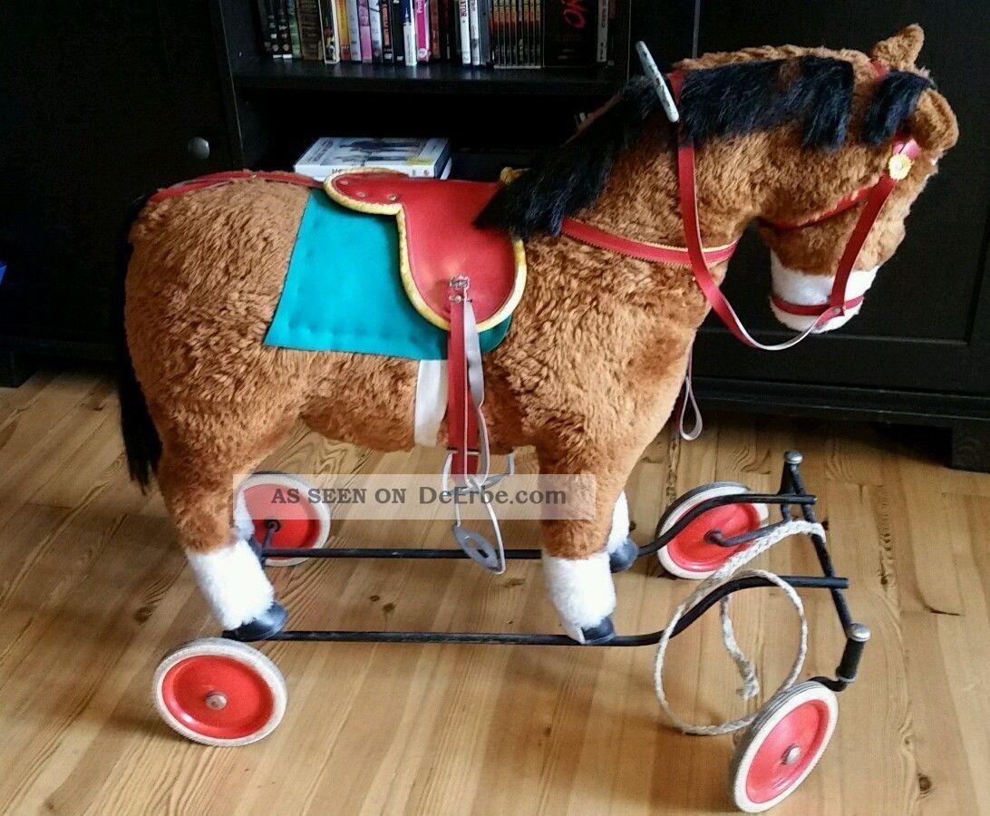 Steiff Pferd Auf Rollen älter (50 ' Er/60 ' Er) Ca.  L 75 B 32 H 65 Stofftiere & Teddybären Bild