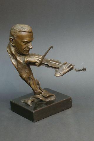 """Bronze Figur """"der Geiger - Geigen Spieler"""" - Signiert Bild"""