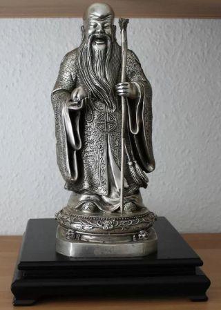 China God Shou Lao Gott Bronze Tibet Silber Figur Statue Brass Chinese Bild